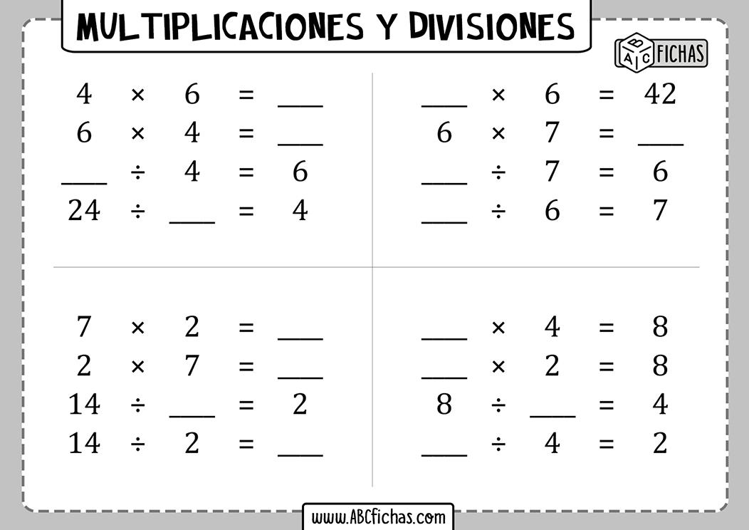 Multiplicaciones y divisiones para 3 de primaria