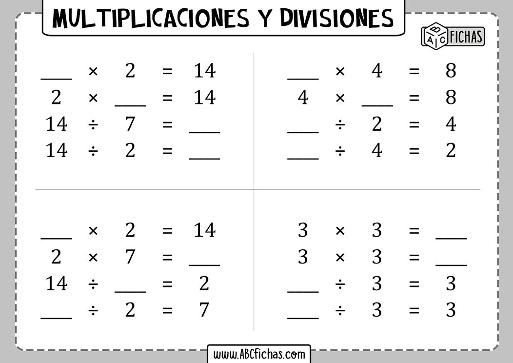 Multiplicaciones y divisiones para 4 de primaria
