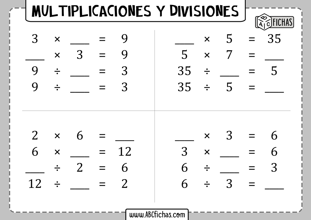 Multiplicaciones y divisiones para resolver