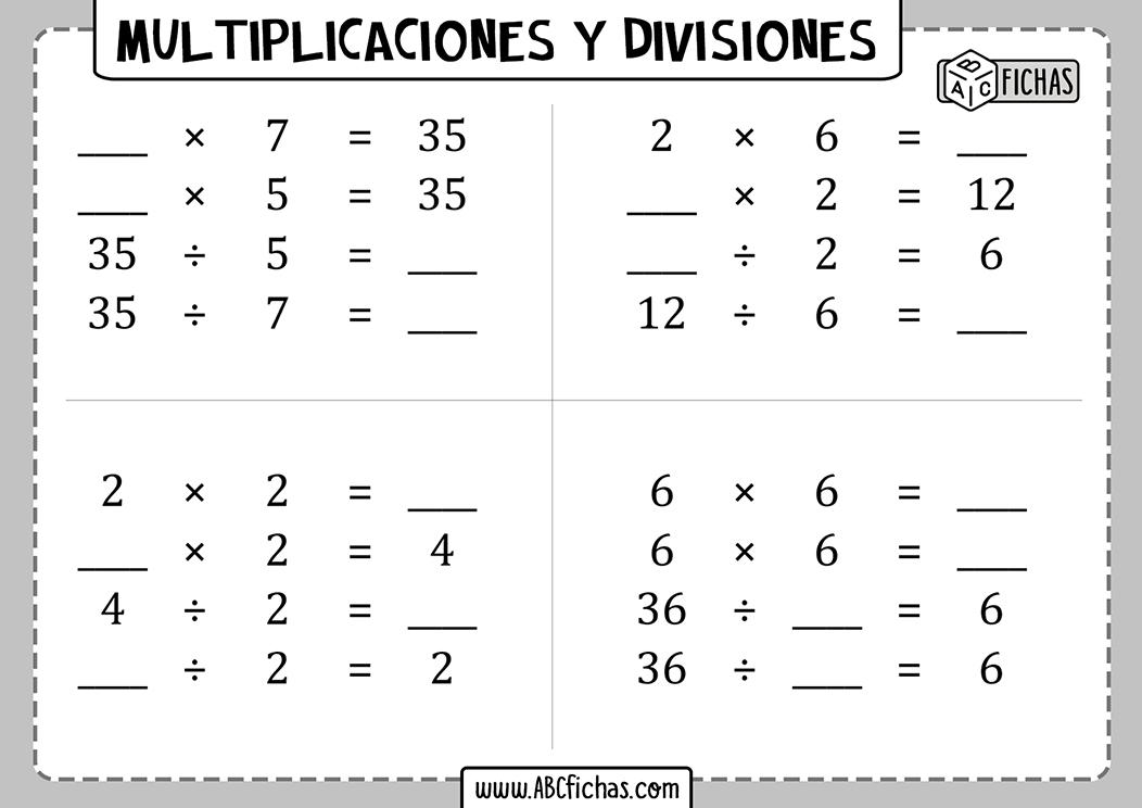 Operaciones de multiplicaciones y divisiones