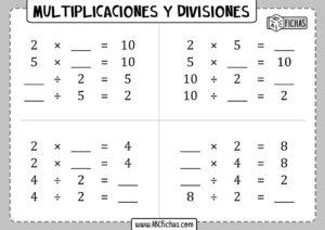 Problemas de multiplicaciones y divisiones