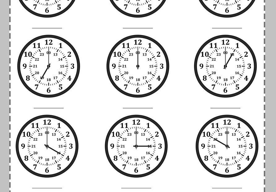 Relojes para completar hora para niños