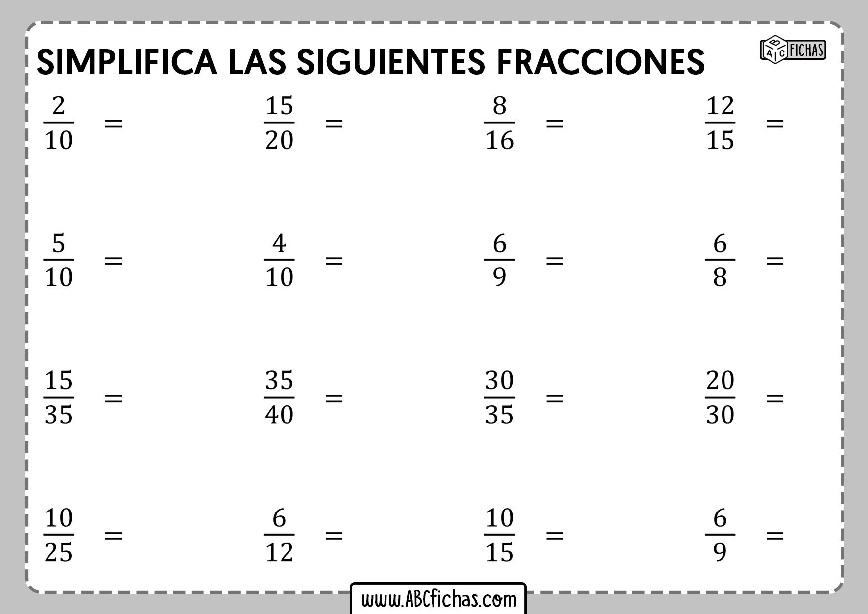 Simplificacion de fracciones ejercicios