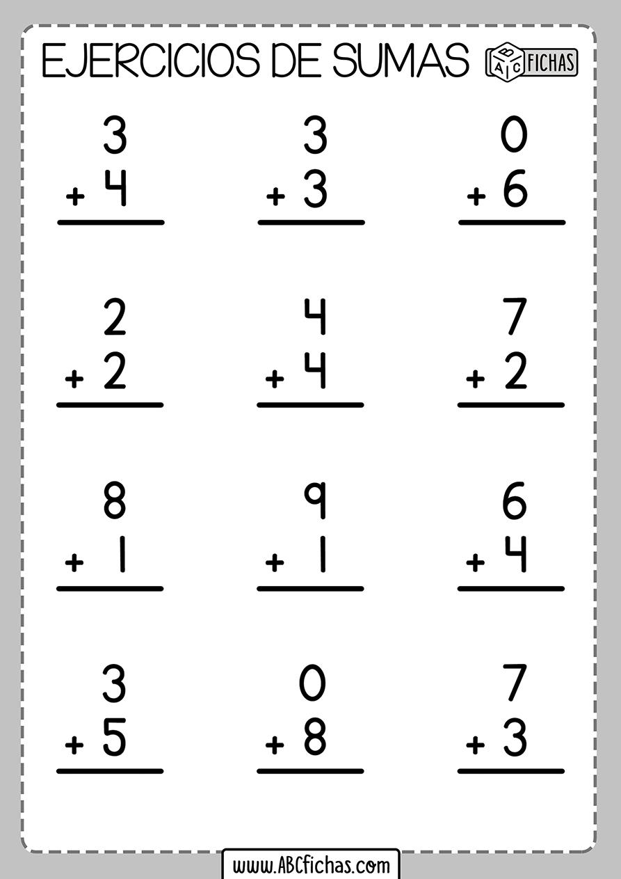 Sumas de 2 digitos ejercicios y fichas