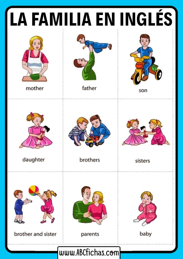 Vocabulario la familia ingles para niños