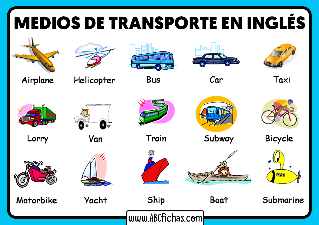 Vocabulario medios de transporte en ingles