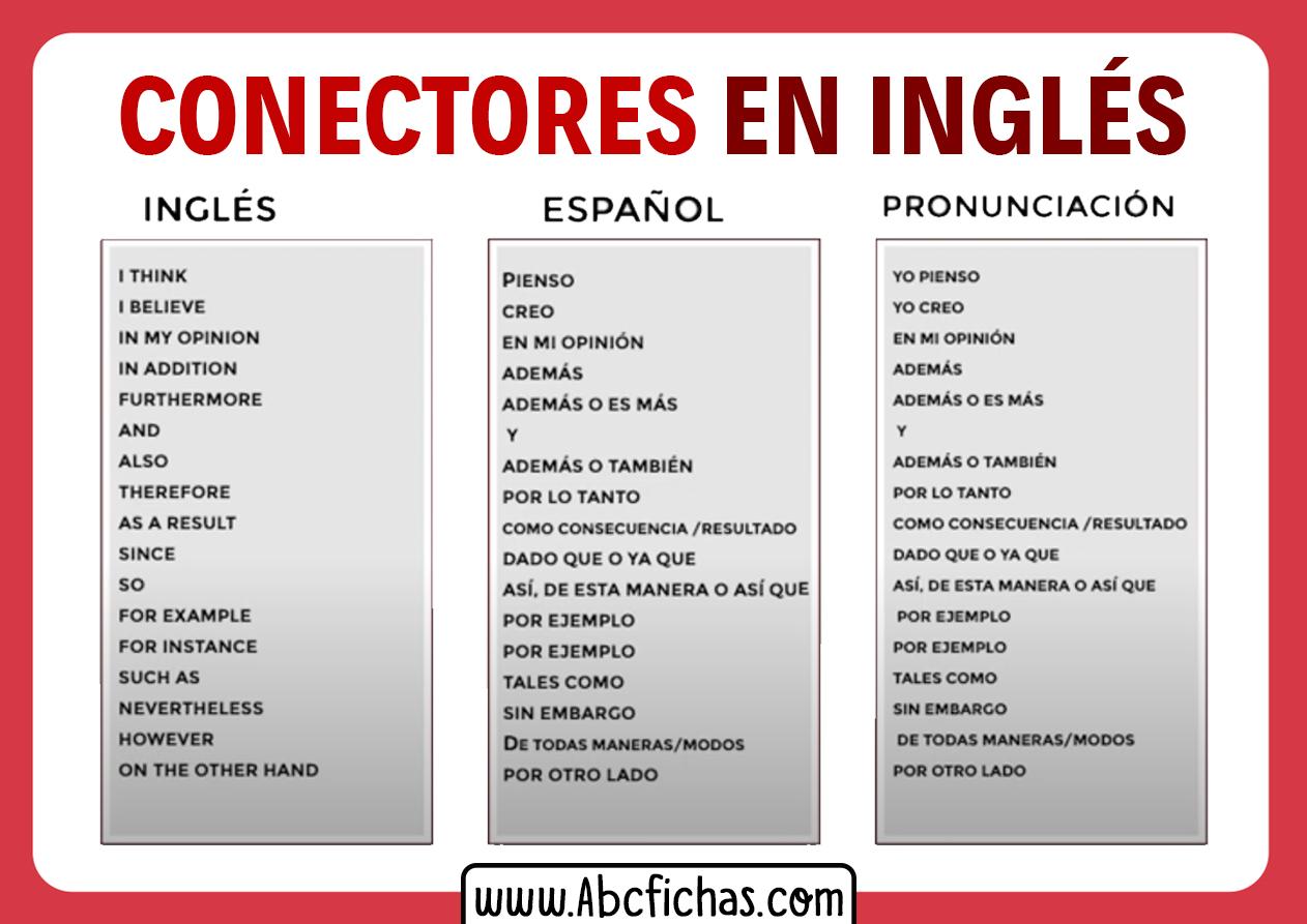 Conectores en ingles traducidos