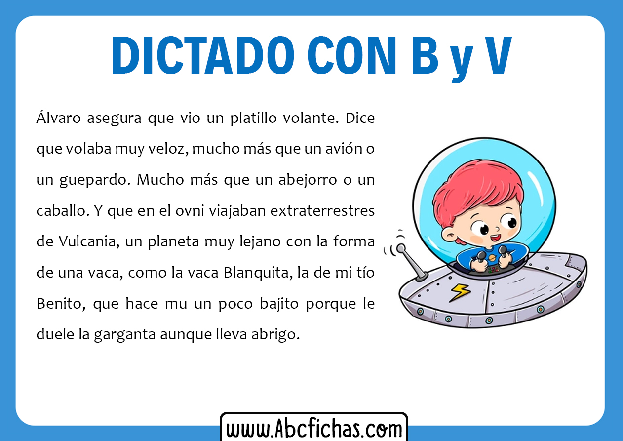 Dictados con b y v para primaria