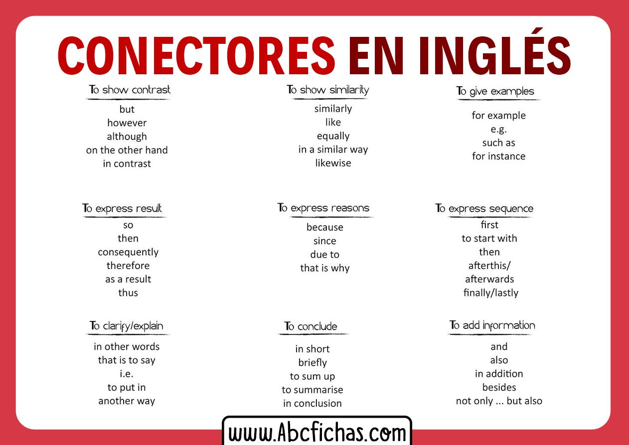 Ejemplos de conectores en ingles