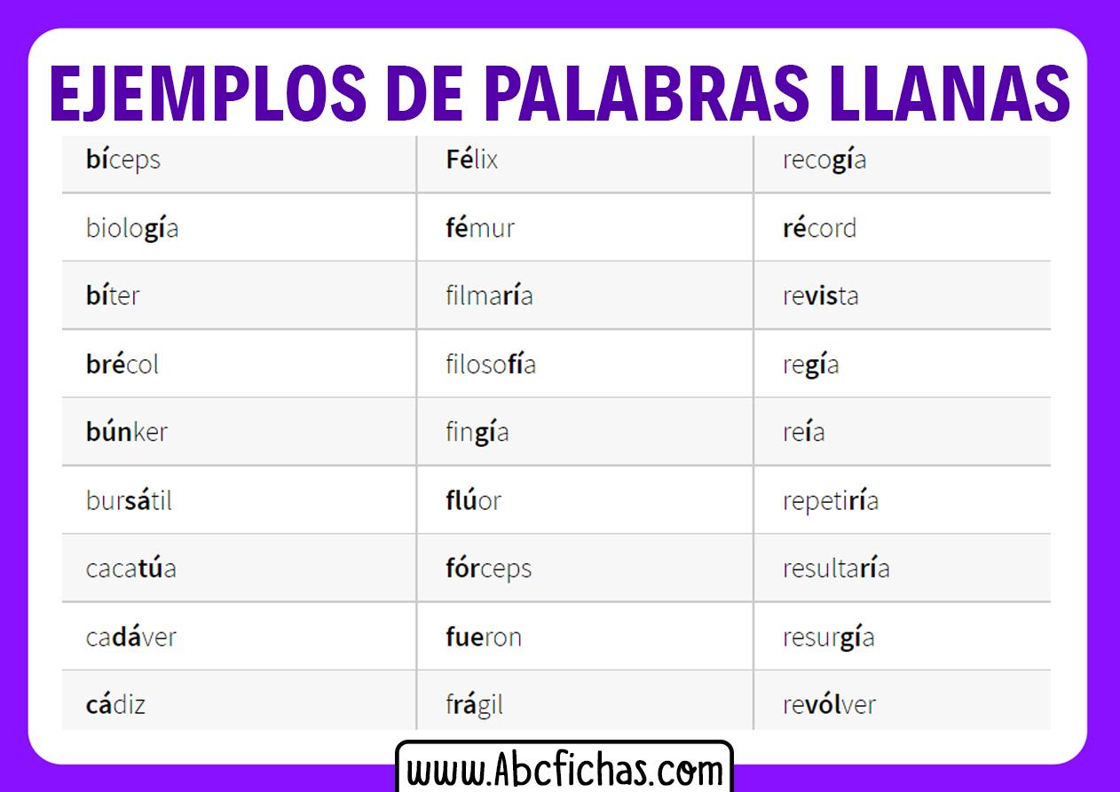 Ejemplos de palabras llanas