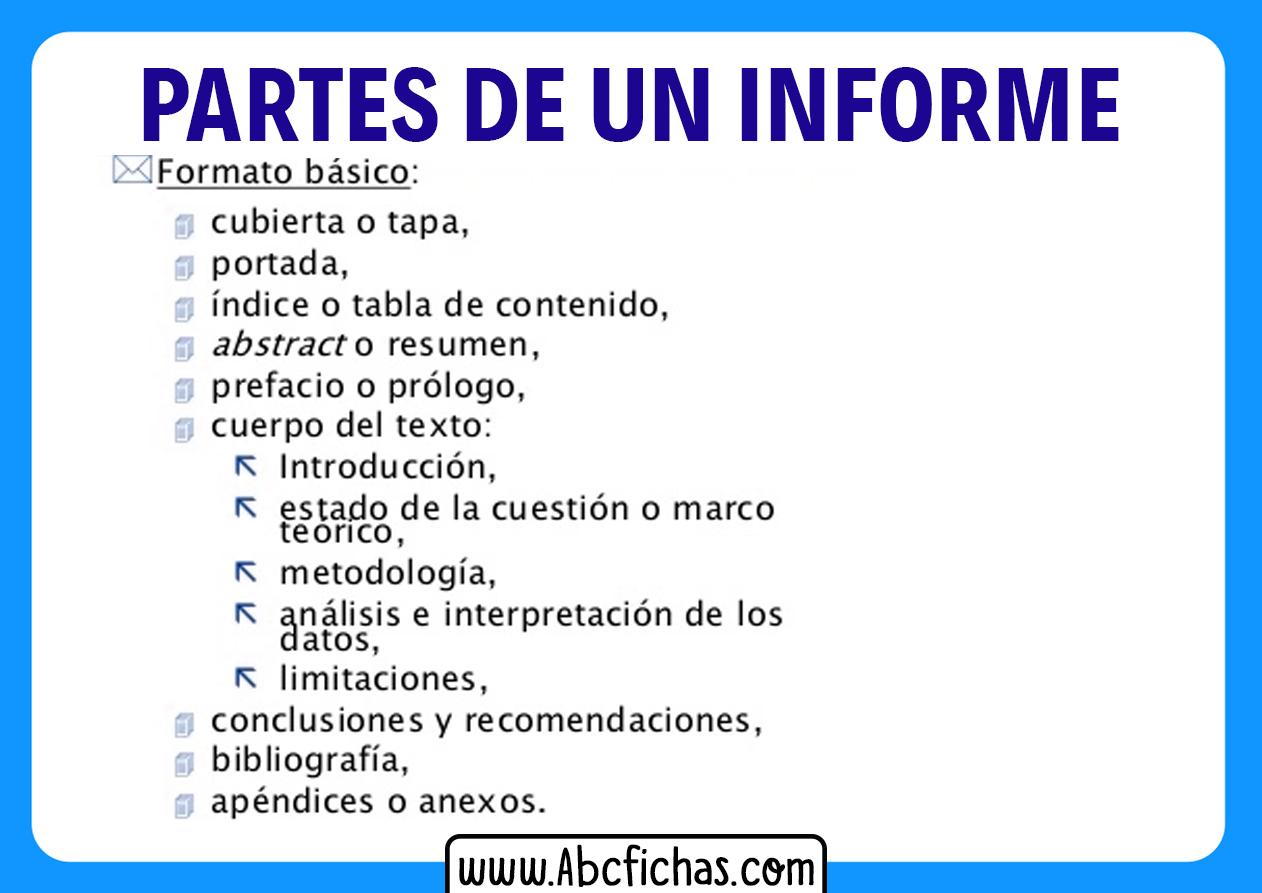 Formato y partes de un informe
