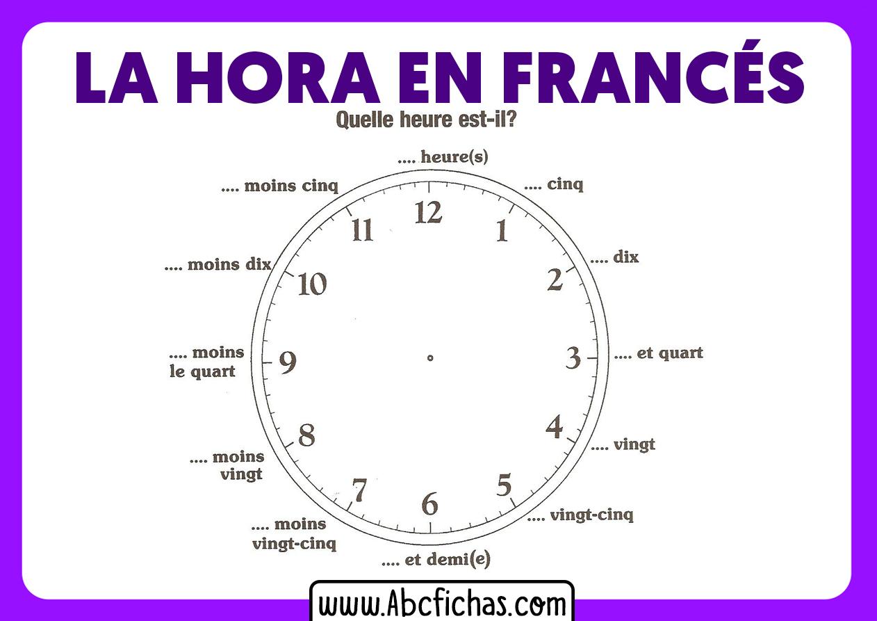 La hora en frances reloj