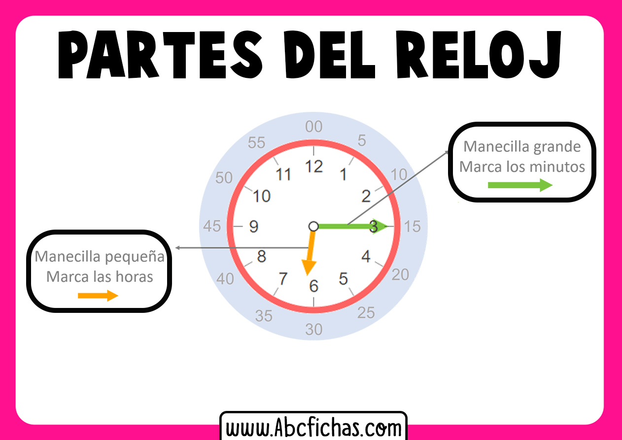 Las partes del reloj para niños
