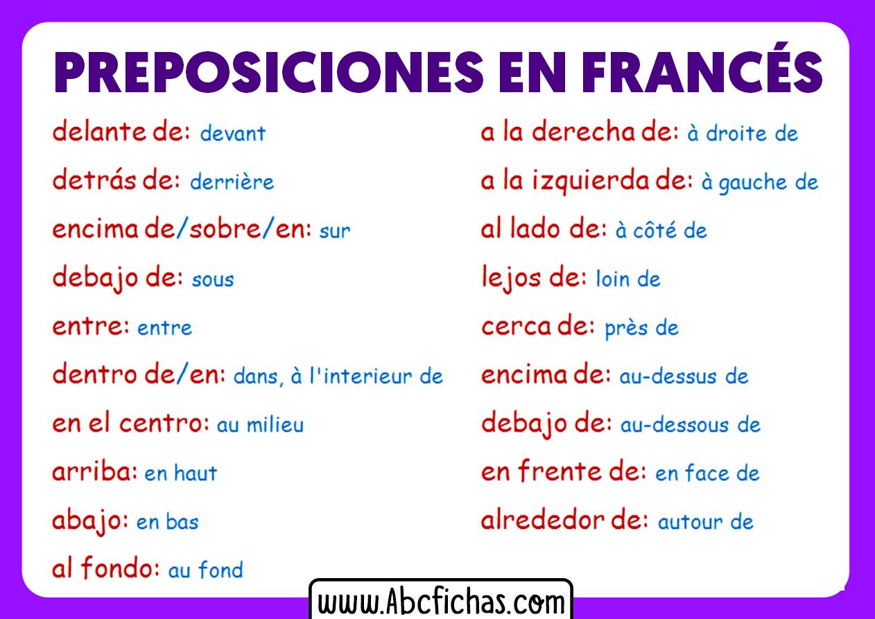 Las preposiciones en frances
