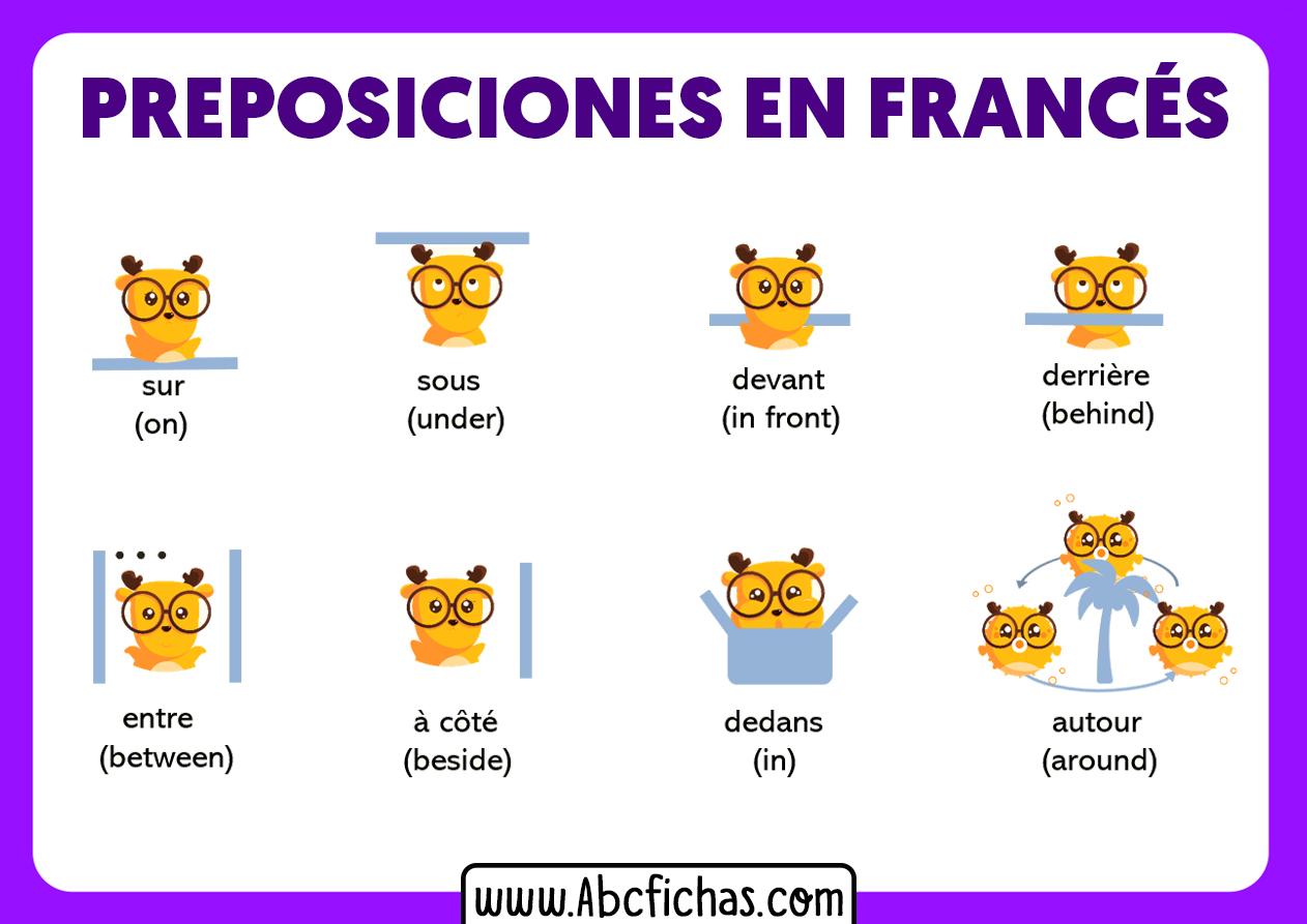 Lista de preposiciones en frances