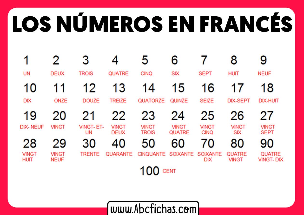 Numeros en frances del 1 al 100