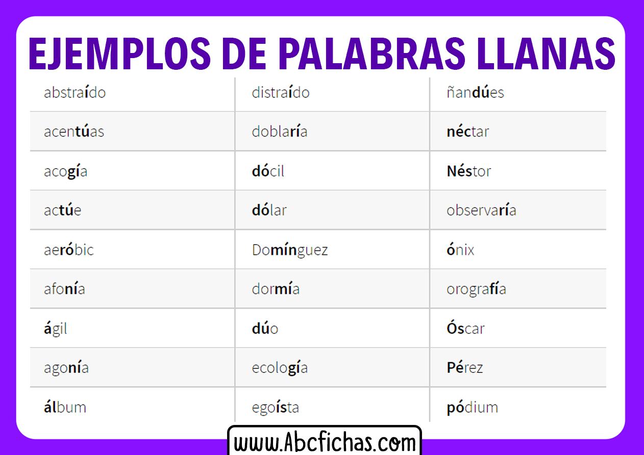Palabras llanas ejemplos