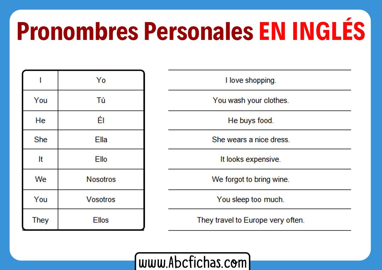 Pronombres personales en ingles y ejemplos