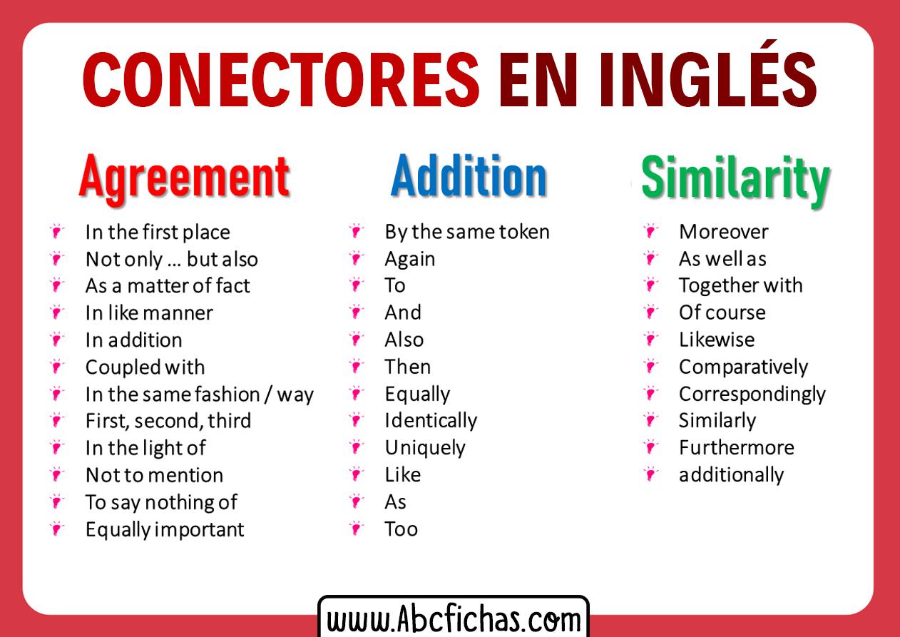Tipos de conectores en ingles