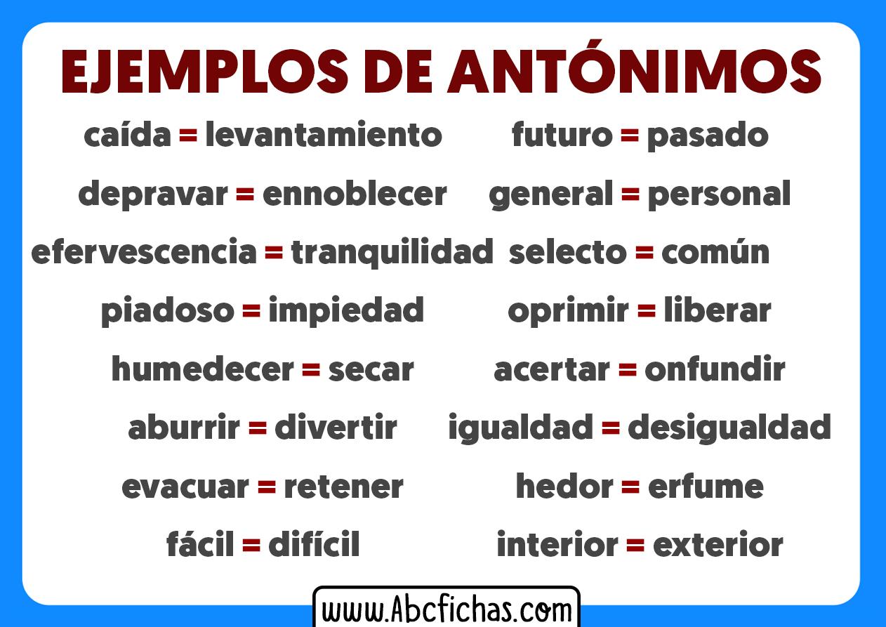 Antonimos ejemplos