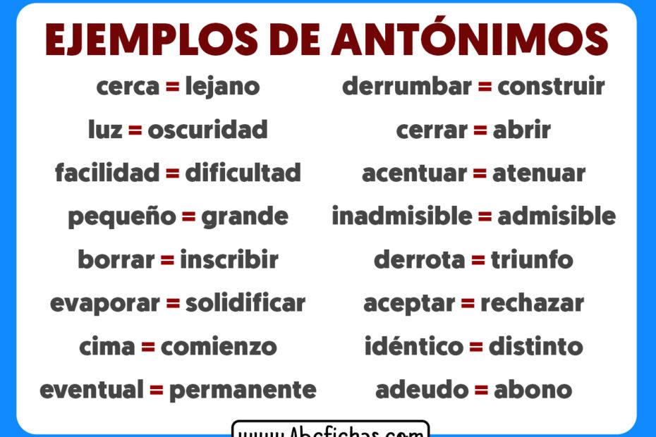 Ejemplos de antonimos