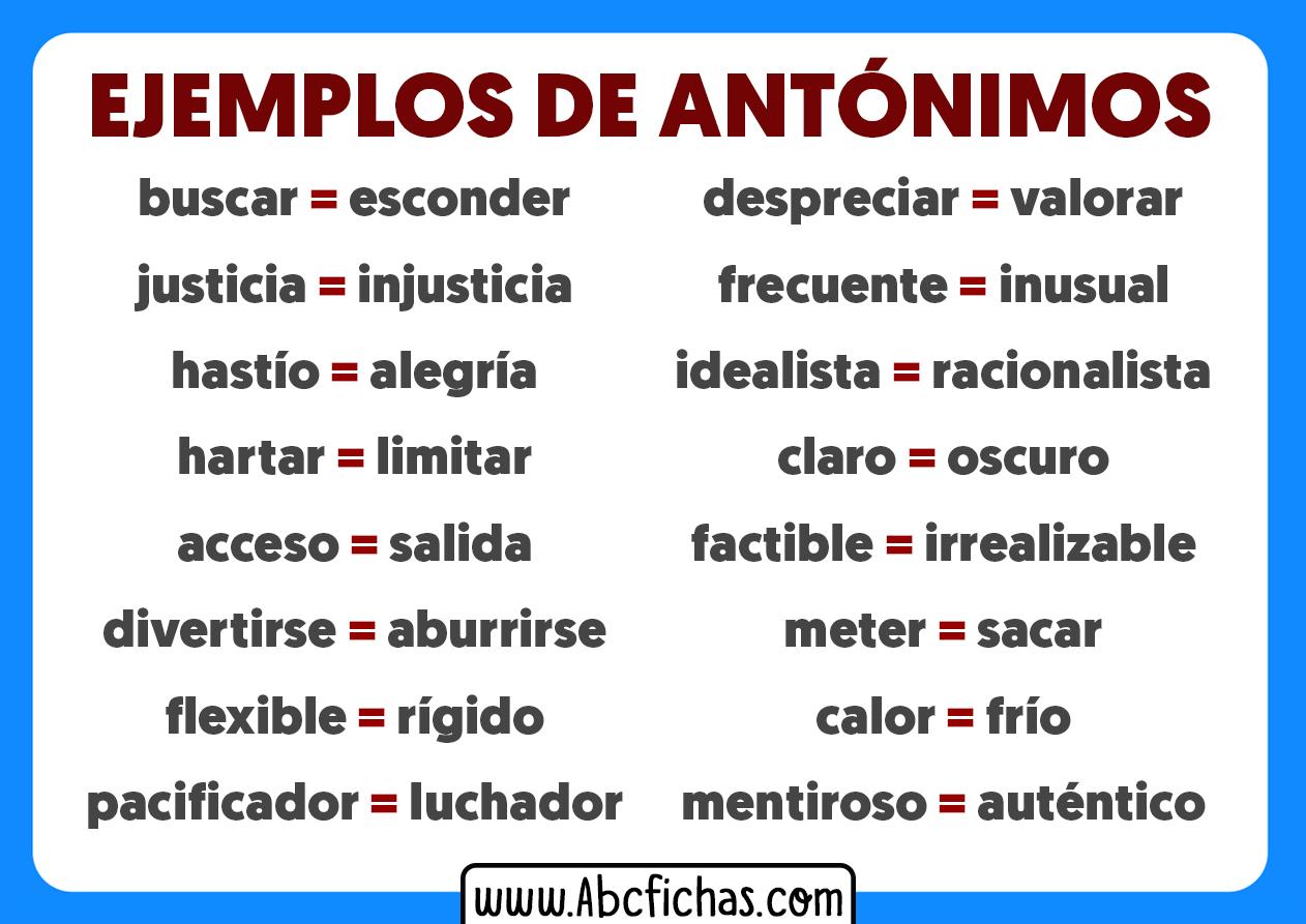 Ejemplos de antonimos palabras