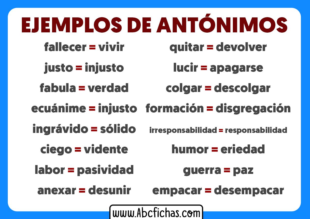 Ejemplos de palabras antonimas