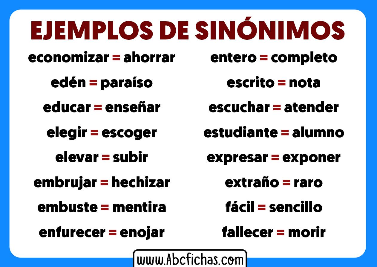 Ejemplos de sinonimos para niños