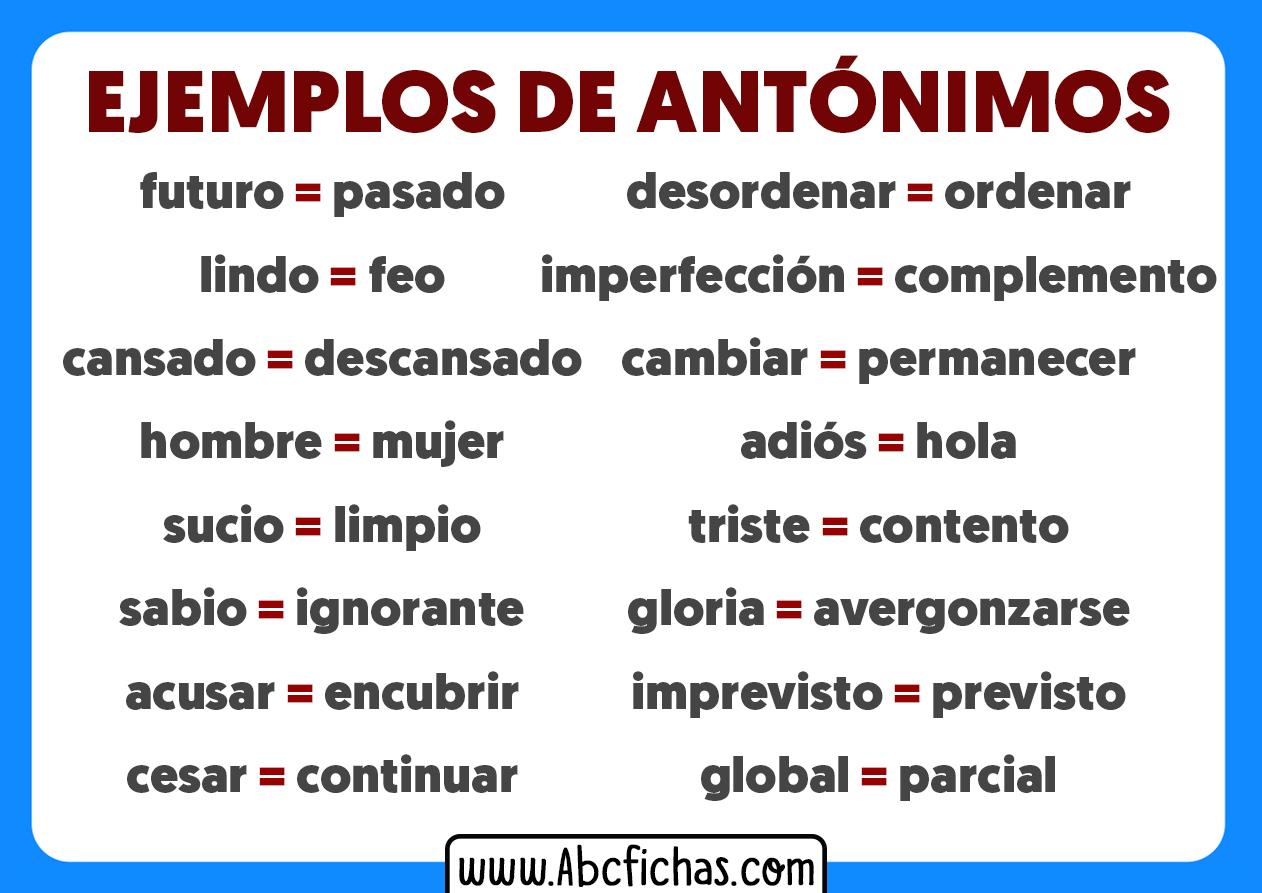 Que son los antonimos y ejemplos