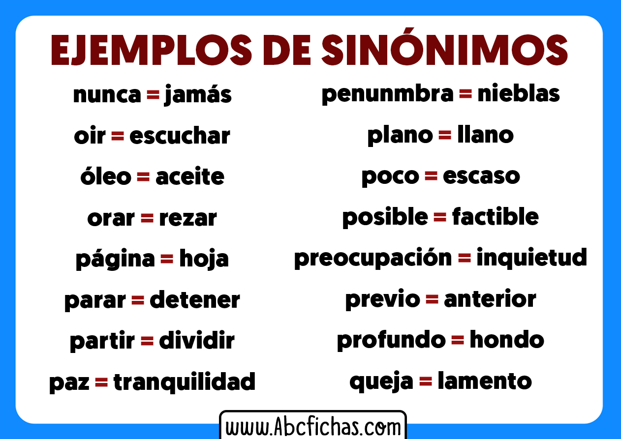 Sinonimos ejemplos de palabras