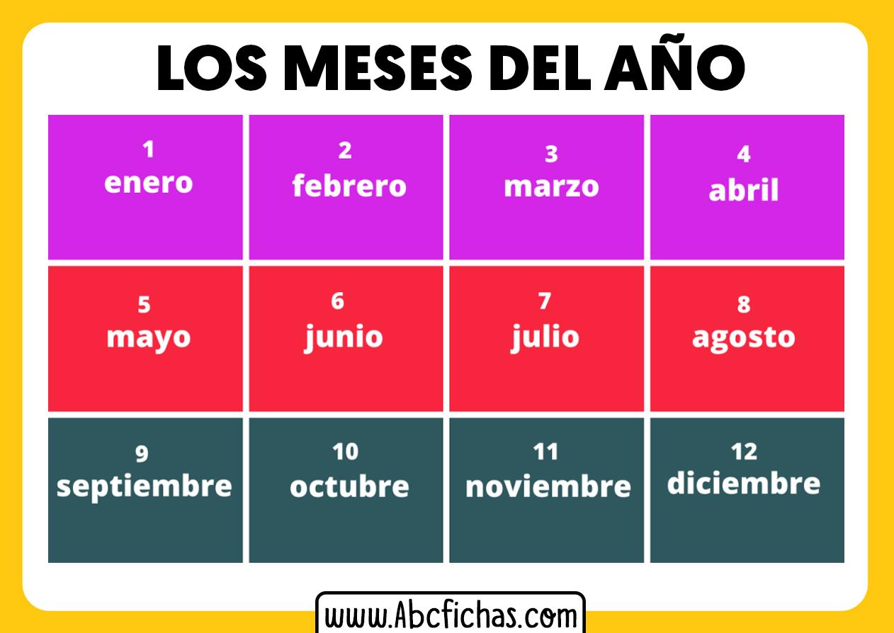 Meses del año enero a diciembre