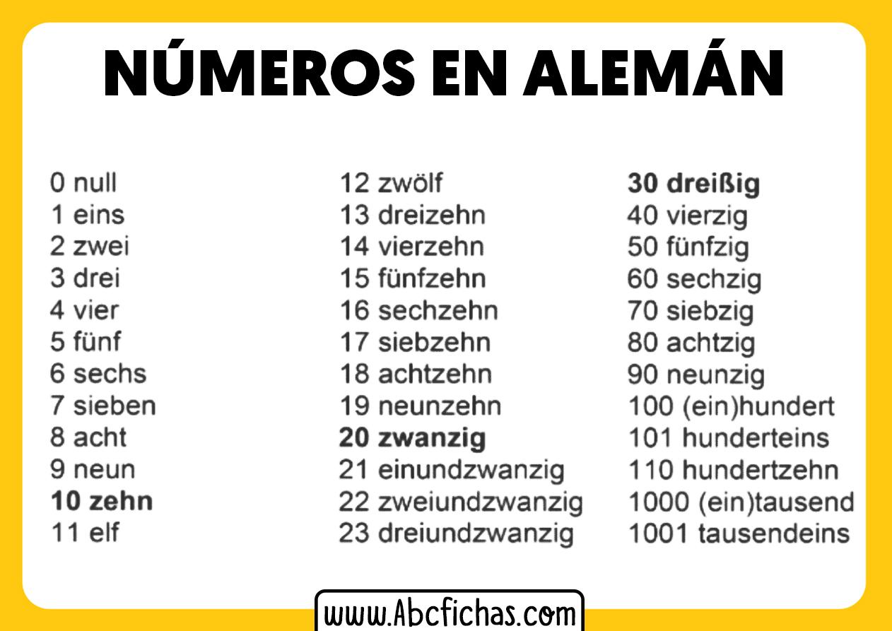 Numeros en aleman del 1 al 100