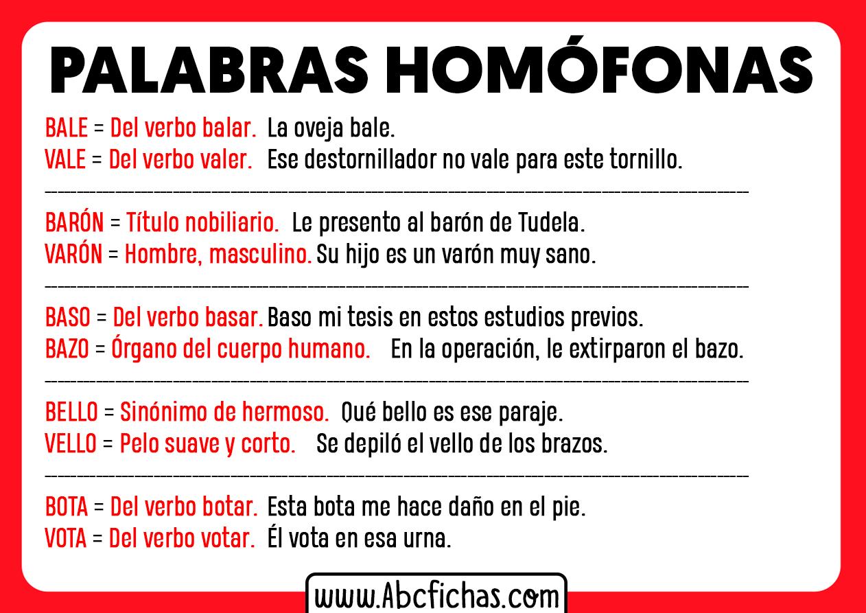Ejemplos de homofonas