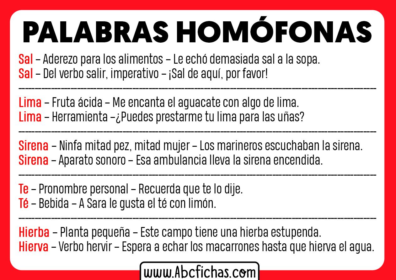 Ejemplos de palabras homofonas