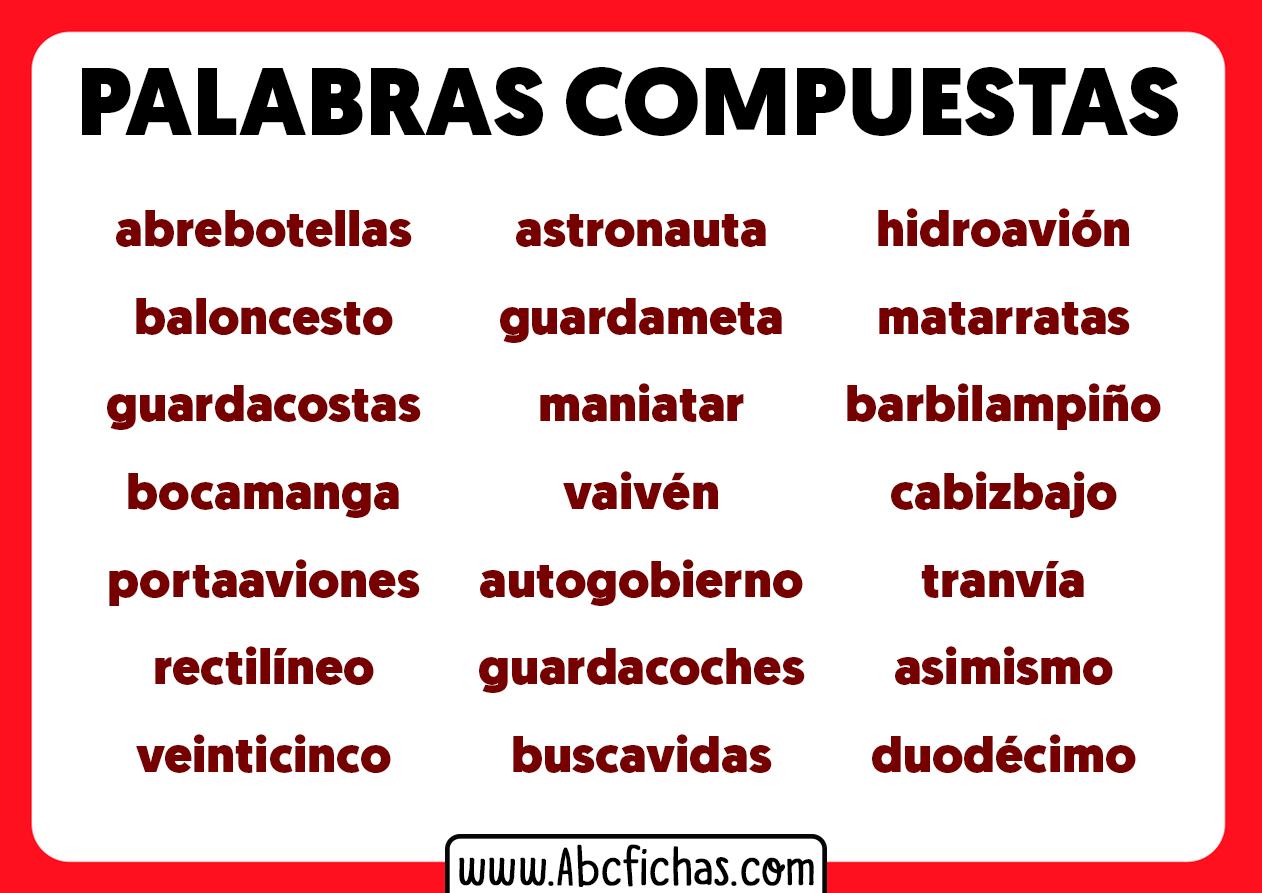 Ejemplos faciles de palabras compuestas