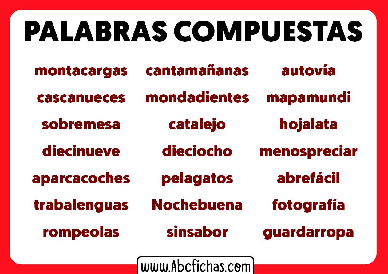 Palabras compuestas con ejemplos