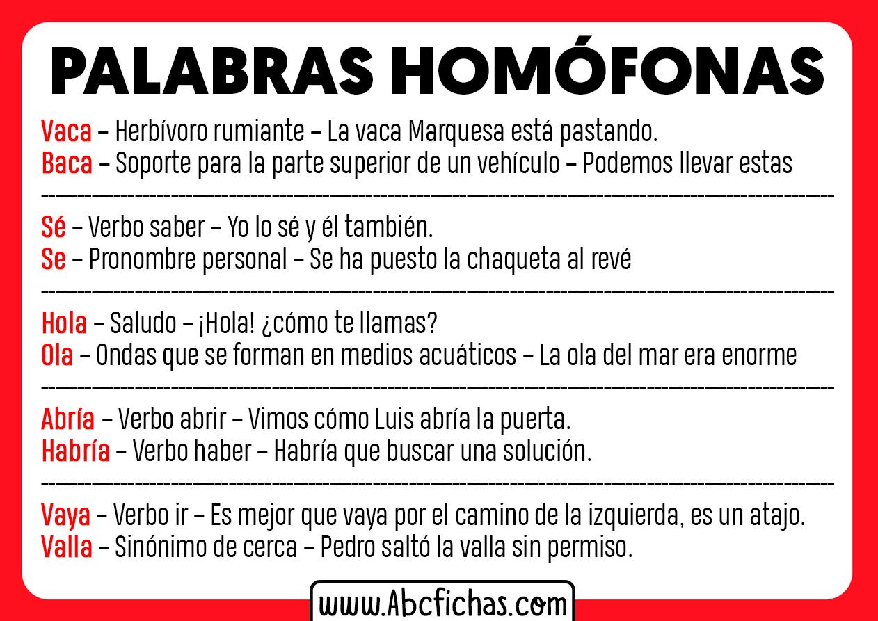 Palabras homofonas y ejemplos